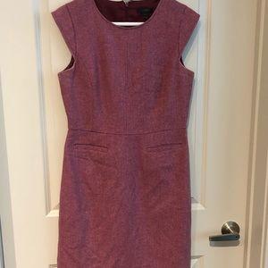 Red pink tweed cap sleeve jcrew work dress